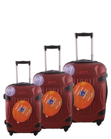 5118 Kırılmaz Koyu Kırmızı Pvc Valiz Bavul Seti 2 ÇÇS