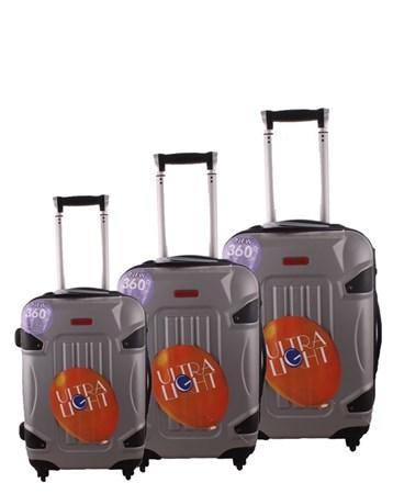 5118 Kırılmaz Gümüş Pvc Valiz Bavul Seti 2 ÇÇS