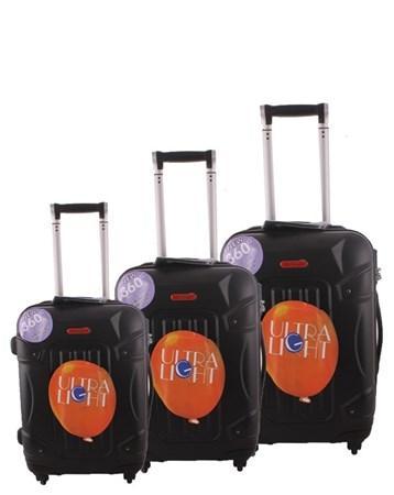 5118 Kırılmaz Siyah Pvc Valiz Bavul Seti 2 ÇÇS