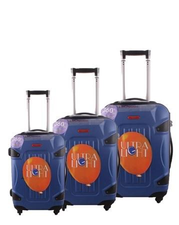 5118 Kırılmaz Mavi Pvc Valiz Bavul Seti 2 ÇÇS