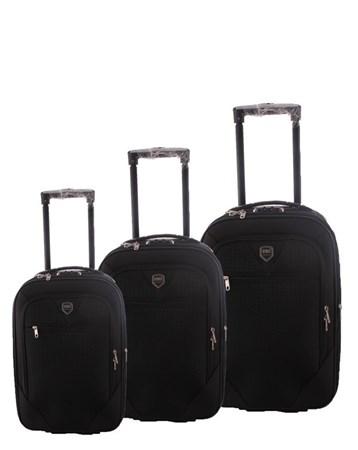088 Siyah Bavul Kumaş Valiz Seti 2 ÇÇS