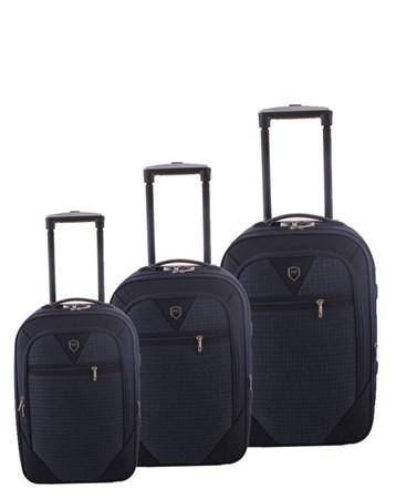 088 Lacivert Bavul Kumaş Valiz Seti 2 ÇÇS