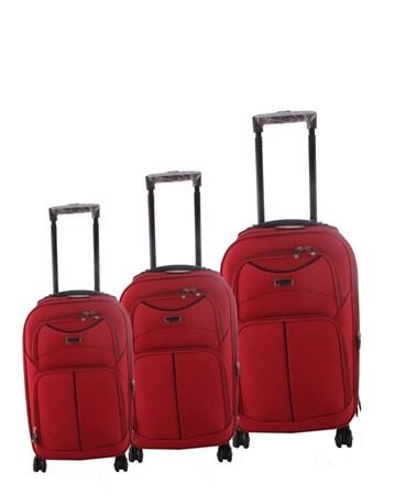 095 Kırmızı 8 Tekerlekli Kumaş Valiz Seti 2 ÇÇS
