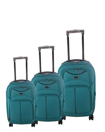 095 Mavi 8 Tekerlekli Kumaş Valiz Seti 2 ÇÇS