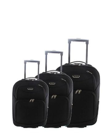 040 Siyah Çekçekli Kumaş Valiz Seti 2 ÇÇS