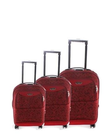 046 Kırmızı Çekçekli Kumaş Valiz Seti 2 ÇÇS
