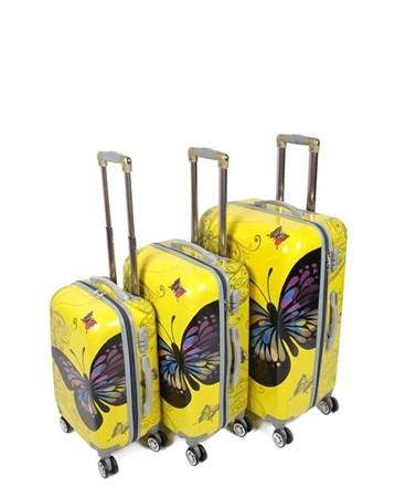 255 Sarı Kelebek 3Lü Valiz Bavul Seti 2 Laguna