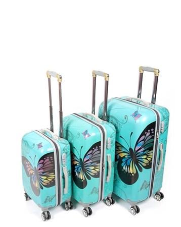 255 Yeşil Kelebek 3Lü Valiz Bavul Seti 2 Laguna