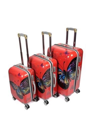 255 Kırmızı Kelebek 3Lü Valiz Bavul Seti 2 Laguna
