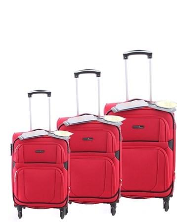 5139 Çekçekli Kumaş Valiz Seti Kırmızı 2 ÇÇS