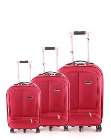 099 Kumaş 3Lü Valiz Seti Kırmızı 2 ÇÇS