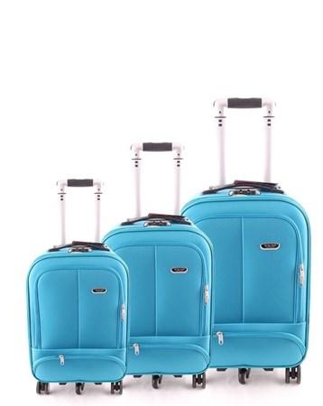 099 Kumaş 3Lü Valiz Seti Mavi 2 ÇÇS