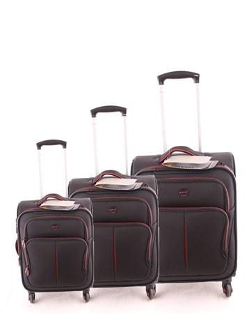 5140 Çekçekli Kumaş Valiz Seti Siyah Kırmızı 2 ÇÇS