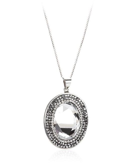 Larentia Aynalı Oval Gümüş Kolye