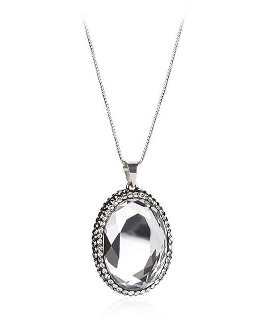 Larentia Aynalı Oval Taşlı Gümüş Kolye