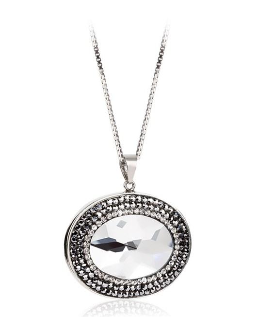 Lotus Oval Taşlı Aynalı Gümüş Kolye