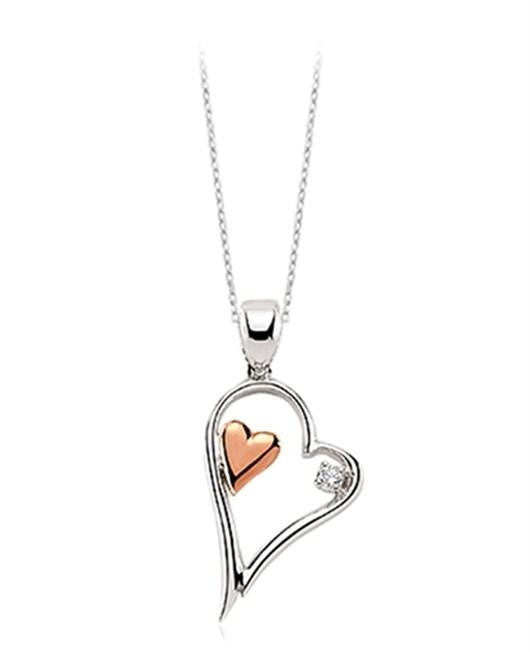 Pırlanta Gümüş Kalp Kolye