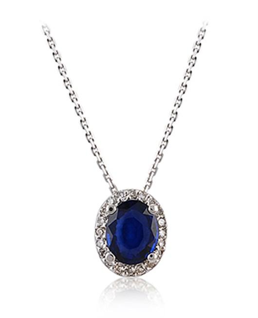 Divas Diamond Pırlanta Safir Altın Kolye