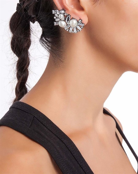 DB Carnaval Taşlı İncili Ear Cuff Tasarım Küpe jw5637