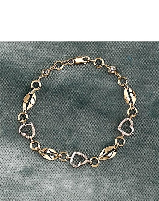 Melis Gold Gümüş Kalpli Bileklik Gb0043