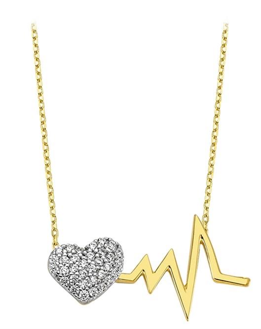 Altın Kalp Ritm Kolye DTR30090