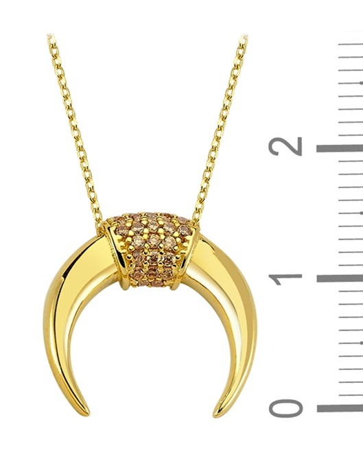 Altın Ay Figürlü Taşlı Kolye DTR30150