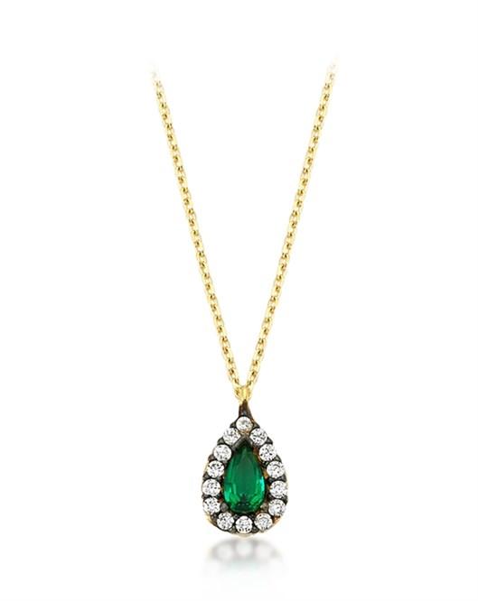 Diva Pırlanta Yeşil Taşlı Damla Kolye M030362