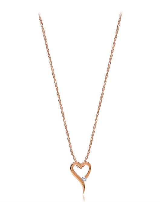 Divas Pırlantalı Kalp Pembe Altın Kolye DVS369121
