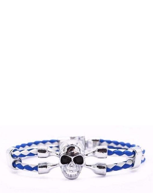 Yeni Model Mavi Beyaz Örgü Deri Halat Gümüş Renk Kurufa Moda Bileklikler 1173