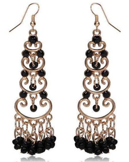 2016 Moda Kristal Drop Küpe Siyah Boncuk Püsküllü Küpeler 1220