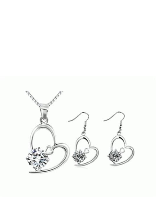 Yeni Beyaz Taşlı Kolye Ve Küpe Romantik Gümüş Kaplama Takı Seti 92
