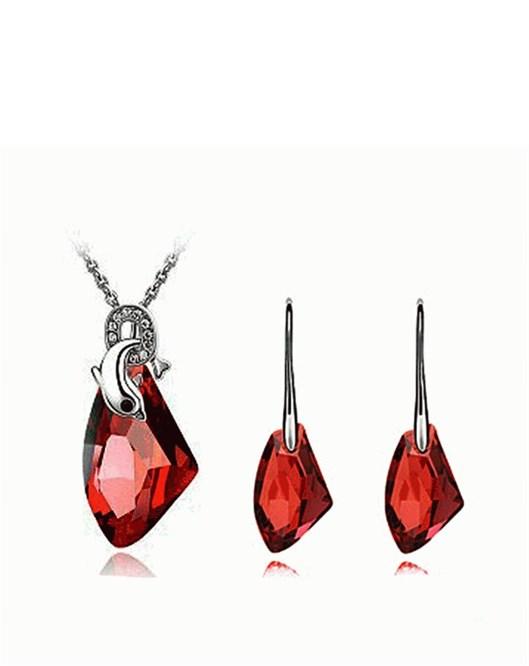Yeni Model Gümüş Kaplama Yunus Kolye Ve Kırmızı Küpe Takı Online Satış 263