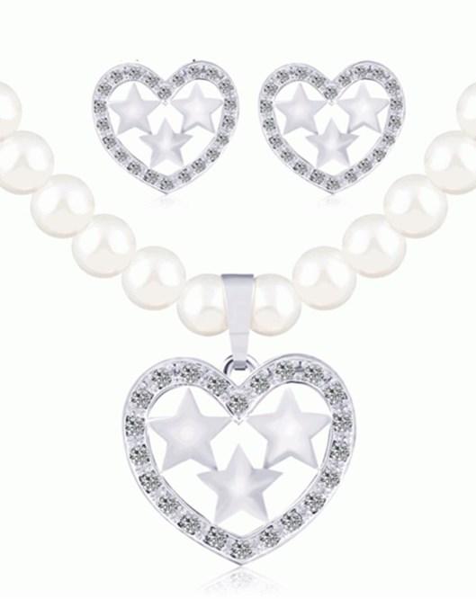 Kalp Takı Setleri Gümüş Renk İmitasyon İnci Kolye Küpe Nişan Gelin Takı Setleri 489