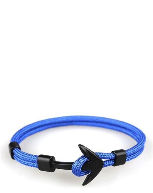 Yaz Sezonu Canlı Renkler İki Katman Mavi Halat Siyah Çapa Bileklik Modelleri 534