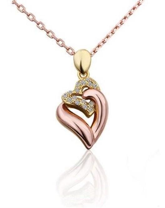 Yeni Sezon Rose Gold Kaplama Çift Kalp Kolye Güzel Hediyeler 617