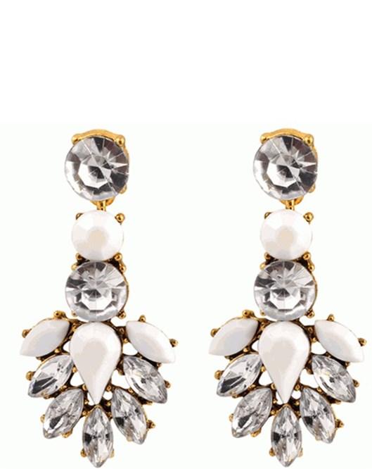 Yeni Moda Retro Takılar Kristal Taşlı Beyaz Küpe 633