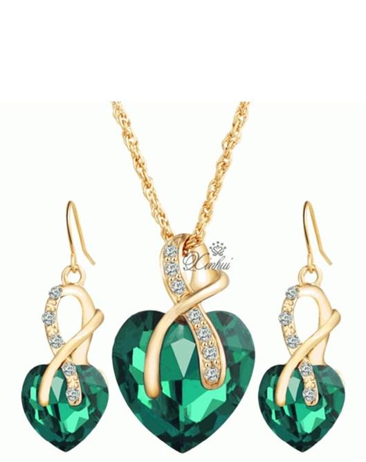 Romantik Stil Kristal Kalp Yeşil Kolye Ve Küpe Takı Setleri Sevgililer Günü Hediyeleri 759
