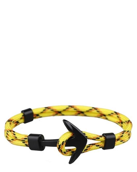 Sarı Siyah Halat Siyah Çapa Bileklik İki Katman Yazlık Bileklik Modelleri 799