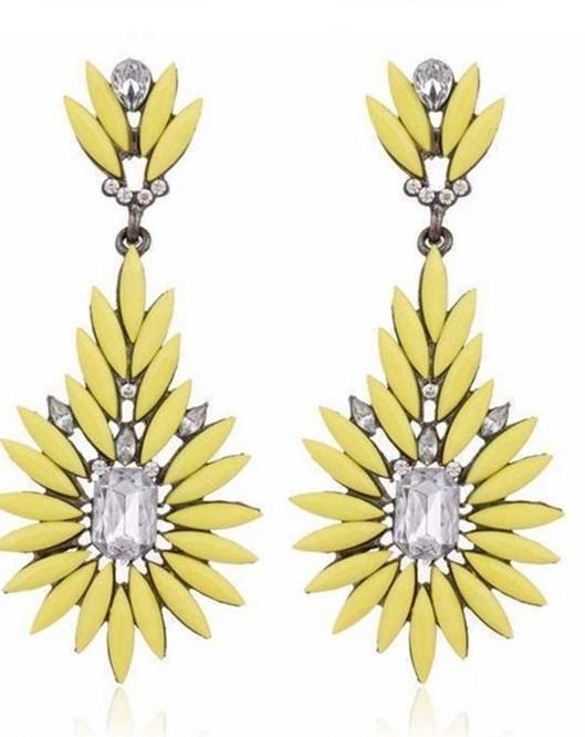 2016 Yeni Moda Kristal Taşlı Saplama Küpe Sarı Küpe 941