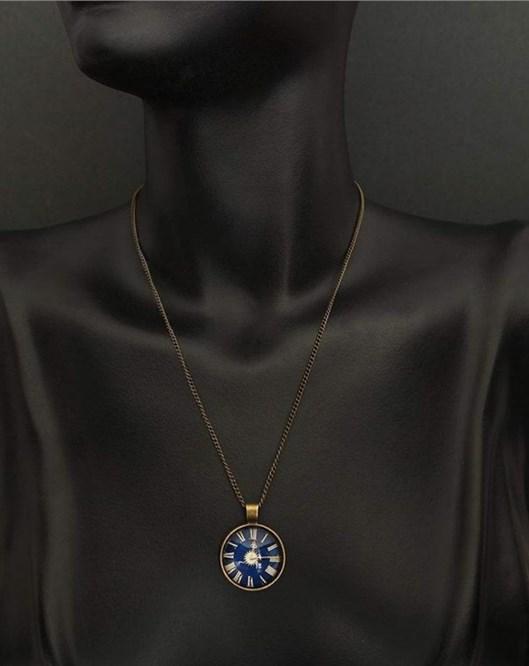 Yeni Moda Cabochon Takı Antika Gümüş Alaşımlı Galaxy Saat Desenli Kolye 944