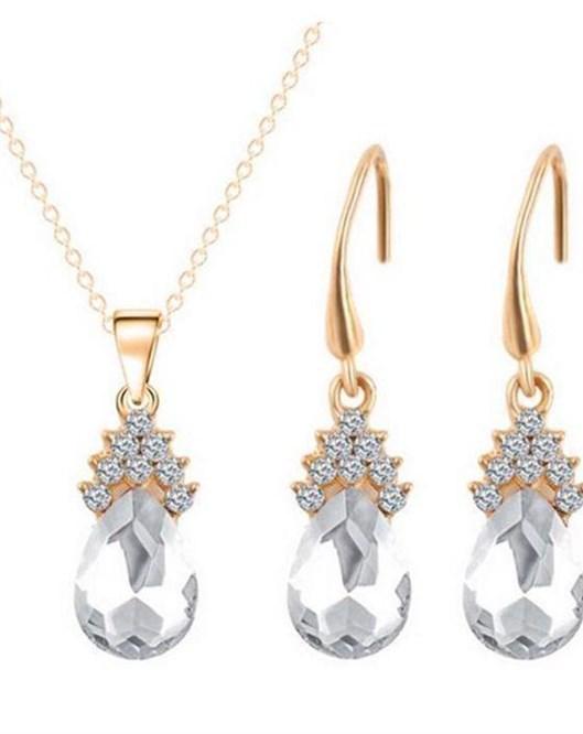 18K Altın Kaplama Beyaz Avusturyalı Crystal Takı Setleri Zarik Şık Kolye Ve Küpe 1007