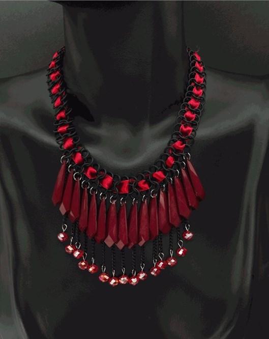 Yeni Tasarım Moda Takı Saçaklı Gerdanlık Kırmızı Kolye Bayan Aksesuarlar Şık Kolye 1010