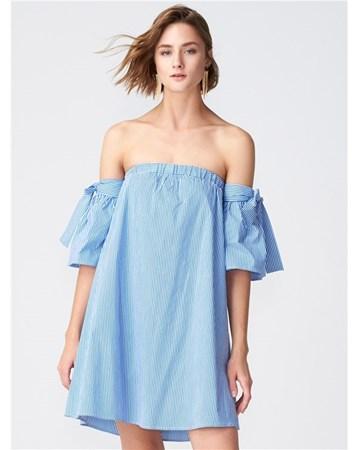 9662 Düşük Omuz Çizgili Elbise-Lacivert 101A09662_Lacivert