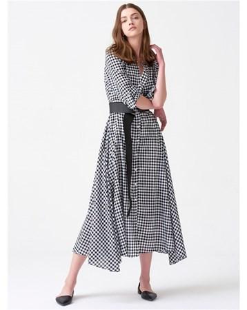 11062 Uzun Ekose Elbise-Siyah 172A11062_Siyah Dilvin