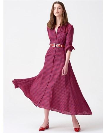 11062 Uzun Ekose Elbise-Kırmızı 172A11062_Kırmızı Dilvin