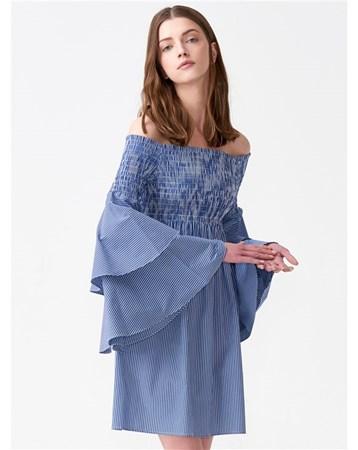 9645 Kolları Volanlı Straplez Elbise-Lacivert 101A09645_Lacivert Dilvin