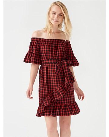 10032 Ekose Desen Kemerli Elbise-Kırmızı-Si 172A10032_Kırmızı-Si Dilvin