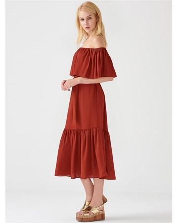 10031 Omuzları Açık Kemerli Elbise-Kiremit 172A10031_Kiremit