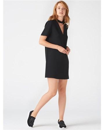9637 Yakası Bantlı Elbise-Siyah 101A09637_Siyah