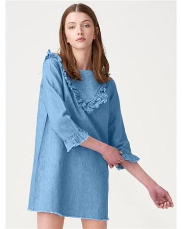 3482 Fırfırlı Kot Elbise-Mavi 162A03482_Mavi Dilvin